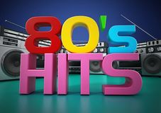 Vintage cassette player and 80`s hits text. 3D illustration.  stock illustration