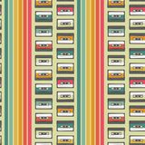 Vintage cassette seamless vector pattern design royalty free illustration
