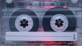 Vintage cassette start. Playing inside deck stock footage