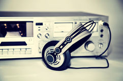 Vintage cassette stereo tape deck recorder Royalty Free Stock Photos