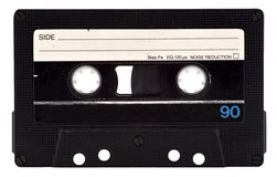 Vintage Cassette Tape. Black vintage cassette tape. 90 minutes play time. Clipping path included Stock Photos