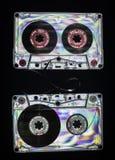 Vintage cassette tape. On dark background royalty free stock image