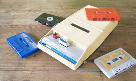 Vintage cassette tape recorder with tapes Stock Images