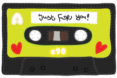 Vintage cassette tape stitched together Royalty Free Stock Photo