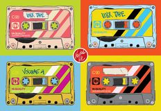 Vintage Cassettes. Flat design– stock illustration. N  file Royalty Free Stock Photography