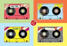 Vintage Cassettes. Flat design– stock illustration. Neditable vector file Stock Images