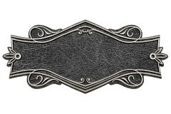 Vintage cast leather plate isolated on white background vector illustration