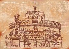 Vintage Castel Sant Angelo. Vintage style illustration of Castel Sant Angelo, Rome, Italy Stock Photo