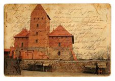 Vintage castle postcard Royalty Free Stock Image