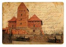 Vintage castle postcard. Vintage postcard of old Trakai castle royalty free stock image