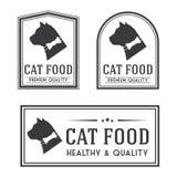 Vintage cat food badges and logotypes set. Royalty Free Stock Photo