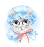 Vintage cat with glasses Stock Image