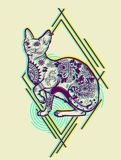 Vintage Cat Tattoo Design. Isolated Psychedelic Vector illustration Royalty Free Stock Image