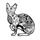 Vintage Cat Tattoo Design. Isolated Vector illustration Stock Images