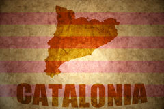 Vintage catalonia map. Catalonia map on a vintage catalonia flag background Stock Images