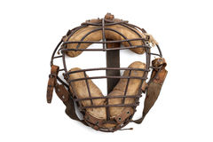 Vintage catchers mask. Vintage baseball catcher's mask isolated on white Royalty Free Stock Photo