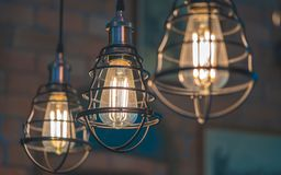 Vintage Ceiling Metal Cage Lighting royalty free stock photo