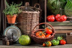 Vintage cellar with harvested vegetables and fruits stock photography