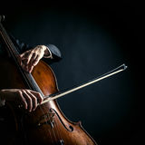 Vintage cello. On a black background stock photo
