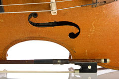 Vintage cello close up isolated on white. Background stock photography