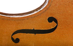 Vintage cello edge close up isolated on white Royalty Free Stock Image