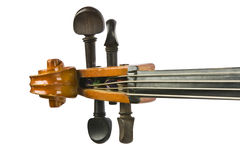Vintage cello neck and tunners isolated on white. Vintage neck and tunners isolated on white background stock images