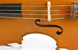 Vintage cello side isolated on white Royalty Free Stock Images