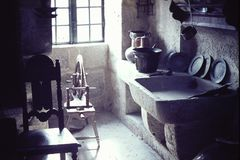VINTAGE CENTURIES-OLD KITCHEN OR GALLEY IN A MUSEUM IN PONTEVEDRA, SPAIN IN 1965 Stock Images