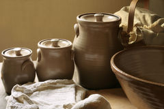 Free Vintage Ceramic Canisters Royalty Free Stock Photography - 5772677