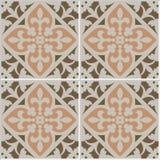 Vintage ceramic mosaic floor tile seamless pattern. Vintage ceramic mosaic floor tile seamless pattern, traditional ornate red floral design. EPS10 vector Stock Image