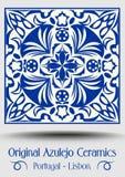 Vintage ceramic tile in azulejo design with blue patterns on white background vector illustration