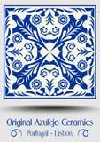 Vintage ceramic tile in azulejo design with blue patterns on white background royalty free illustration