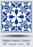 Vintage ceramic tile in azulejo design with blue patterns on white background stock illustration