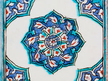 Vintage ceramic tiles with blue color design on wall of historical Topkapi palace, Istanbul. Stock Image