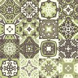 Vintage ceramic tiles. Seamless vector patchwork pattern Royalty Free Stock Photography