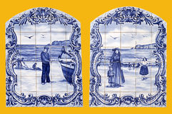 Vintage ceramic tiles wall decoration depicting sea life in Nazare village, Portugal. Royalty Free Stock Photo