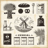 Vintage cereal set. A set of fully editable vintage cereal elements in woodcut style. EPS10 vector illustration with clipping mask Stock Photo