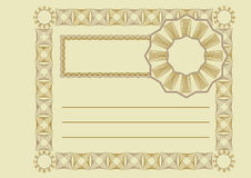 Vintage certificate. Simple vector blank vintage certificate Royalty Free Stock Photography