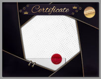Vintage certificate template with black border as lens Royalty Free Stock Photo