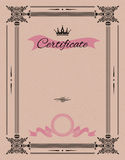 Vintage certificate template with detailed border Royalty Free Stock Photo
