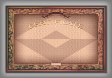 Vintage certificate template with detailed border in vector Royalty Free Stock Photo