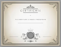 Vintage certificate template with detailed border in vector Stock Image