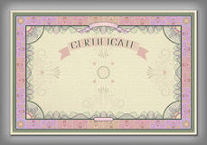 Vintage certificate template with detailed border in vector Stock Images