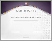 Vintage certificate template with purple border and gold Stock Photography