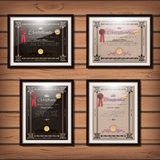 Vintage certificate templates set with detailed border Stock Photos