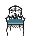 Vintage Chair furniture Vector. Rich carved ornaments furniture. Vector Victorian exquisite Style furniture. Vector sketch Stock Photo