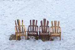 Vintage chair over snow ground Royalty Free Stock Photos