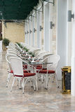 Vintage chair and table Beside the hotel Royalty Free Stock Photos