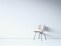Vintage chair on the white wall. 3d render Stock Photo