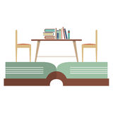Vintage Chairs And Bookcase On Huge Book Royalty Free Stock Images